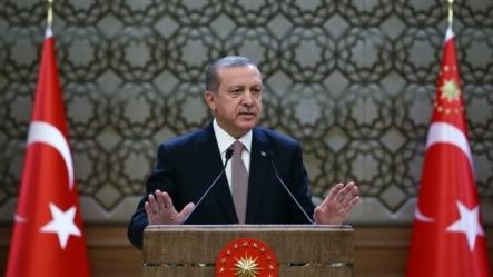 土耳其总统埃尔多安在安卡拉的总统府对地方官员讲话。(2015年11月26日)