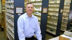 Pharmacist Mark Doyle at McLanahan's Drug Store in Centre Hall, Pennsylvania
