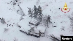 An aerial view shows Hotel Rigopiano in Farindola, central Italy, hit by an avalanche, in this handout picture provided by Italy's firefighters, Jan. 19, 2017.