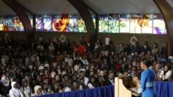 Michelle Obama speaks to young people at Regina Mundi Church in Soweto, South Africa