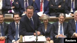 FILE - Britain's outgoing Prime Minister, David Cameron, speaks during Prime Minister's Questions in the House of Commons, in central London, Britain in this still image taken from video, July 13, 2016.