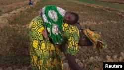 Une Malienne avec son enfant dans un champ de Heremakono, Mali, le 22 janvier 2013.