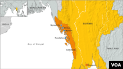 This map of Myanmar, also known as Burma, shows Rakhine state.
