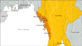 Burma map, state of Rakhine