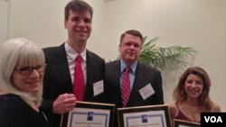 From left to right: Amy Katz, Steve Baragona, Kane Farabaugh, and Carolyn Presutti attend the Chesapeake AP awards banquet.