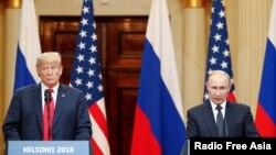 Совместная пресс-конференция президента США Дональда Трампа и президенты РФ Владимира Путина в Хельсинки. 16 июля.