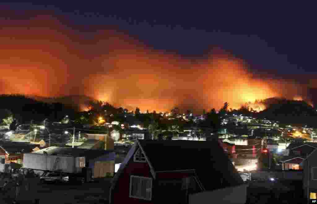 Şili Dichota'da yangın