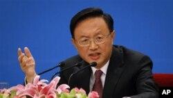 Ngoại trưởng Trung Quốc Dương Khiết Trì phát biểu trong cuộc họp báo tại Đại Sảnh đường Nhân dân ở Bắc Kinh, ngày 6/3/2012