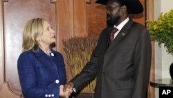 Hillary iyo madaxwyne Salva Kiir