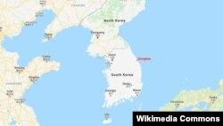 韩国海滨城市东海(Donghae)地理位置。
