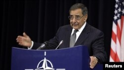 US Defense Secretary Lean Panetta after a meeting of NATO Defense Ministers at NATO headquarters in Brussels, October 10, 2012.