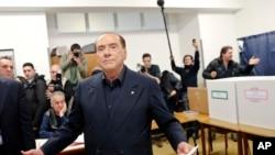 Бывший премьер-министр Италии и лидер партии «Вперед, Италия» Сильвио Берлускони. Милан, Италия. 4 марта 2018 г.