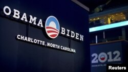 A sign for the campaign of US President Barack Obama is seen on August 31, 2012, at the site that will host the Democratic National Convention in Charlotte, North Carolina.