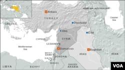 Peta wilayah Suriah, Turki dan Irak.