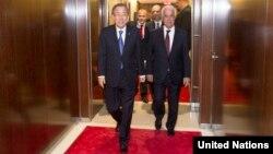 BM Genel Sekreteri Ban Ki-moon ve KKTC Cumhurbaşkanı Derviş Eroğlu