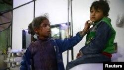 Des enfants blessés dans un hôpital de Douma pendant la guerre, Ghouta orientale, Syrie, le 23 février 2018.