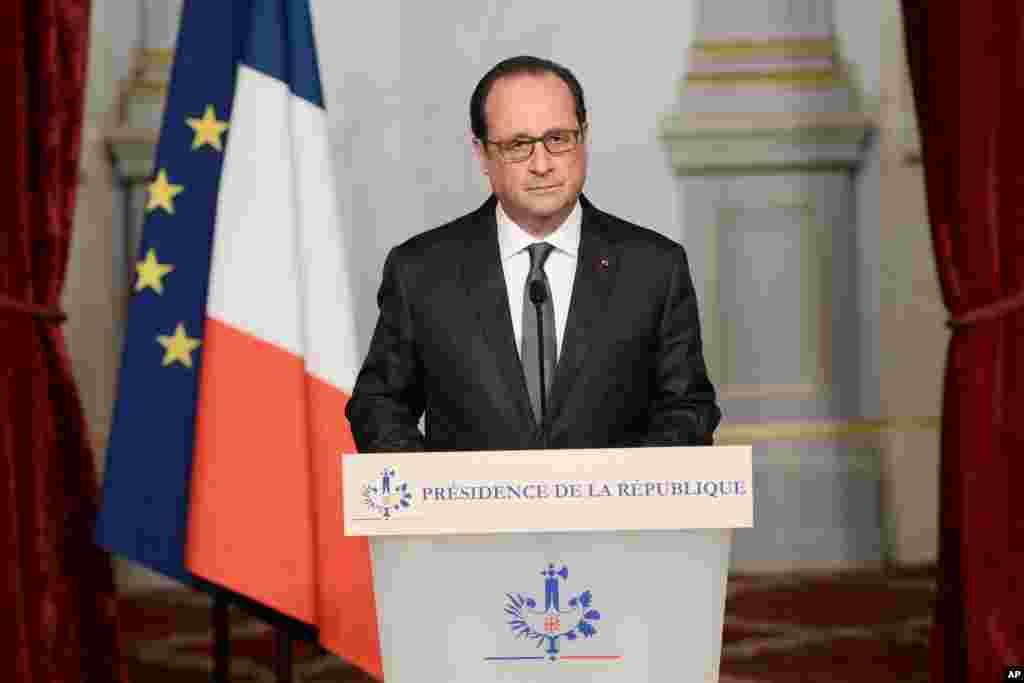 François Hollande s'exprime à l'Elysée le 14 novembre 2015. (Stephane de Sakutin/Pool Photo via AP)