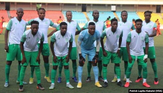 Les joueurs du Daring Club Motema Pembe lors de la finale de la 56e finale de la Coupe du Congo, à Kinshasa, le 30 juin 2021.