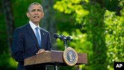 14일 바락 오바마 미국 대통령이 메릴랜드주 캠프 데이비드에서 열린 걸프지역 아랍국 정상회의에서 연설하고 있다.
