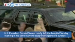 VOA60 Ameerikaa - President Donald Trump briefly left Walter Reed Medical Center to wave to supporters