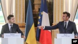 Володимир Зеленський на зустрічі з Емануелем Макроном у Парижі 17 червня 2019р.