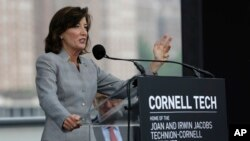 NYC New York State Lieutenant Governor Kathy Hochul speaks during a ceremonial ground breaking at Cornell Tech campus on Roosevelt Island in New York, June 16, 2015. Among the school's stated goals - help close the existing gender gap in the technology field.