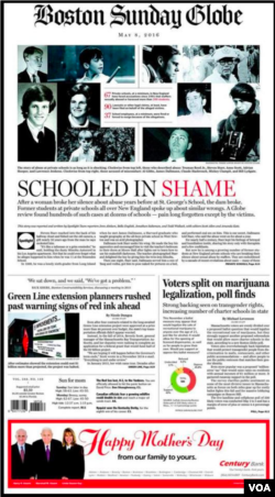 La Une du Boston Globe du lundi 9 mai 2016.