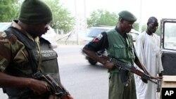 Jami'an tsaro masu yin sintiri a Jihar Borno a yankin arewa maso gabashin Najeriya.
