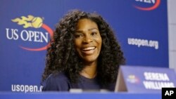 U.S. Open Tennis defending women's champion Serena Williams speaks during a press conference at the USTA Billie Jean King National Tennis Center in New York, Thursday, Aug. 27, 2015. (AP Photo/Kathy Willens)
