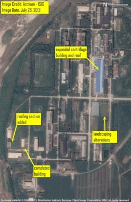 Satellite imagery of the Yongbyon Fuel Fabrication plant from July 28, 2013 showing the expansion of the gas centrifuge plant building.