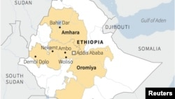 Map locating Amhara and Oromiya regions where protests occurred in Ethiopia.