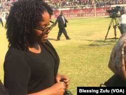 Bona Mugabe-Chikore, daughter of the late President Robert Mugabe at Rufaro Stadium on Thursday.