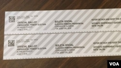 Receipts in English and Spanish of a submitted vote-by-mail ballot for Alameda County from California's presidential primary elections in June. Photo taken on September 7, 2016. (Sophat Soeung/VOA Khmer)