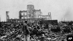 日本广岛在1945年8月6日原子弹爆炸后的废墟