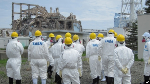International Atomic Energy Agency (IAEA) inspection team members watch No.3 reactor at the crippled Tokyo Electric Power Co. Fukushima Daiichi nuclear power plant in Fukushima Prefecture, in this handout photo taken and released by TEPCO on May 27, 2011.