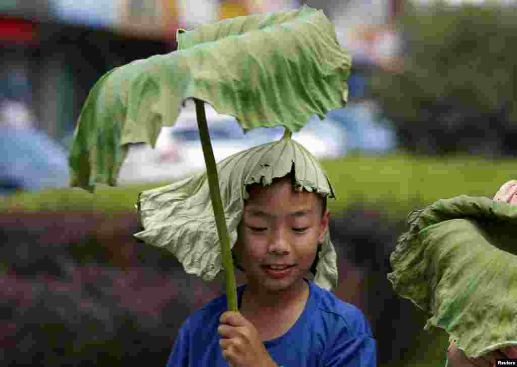 A boy wearing a lotus leaf on his head holds onto another leaf on a hot summer day in Beijing, China.