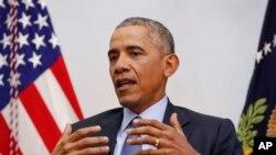 Tổng thống Mỹ Barack Obama trong một buổi phỏng vấn với báo chí ở thủ đô Washington ngày 6/1/2017.