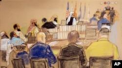 Sketsa gambar sidang pendahaluan dengar pendapat bagi 5 tersangka teroris serangan 11 September 2001 di Teluk Guantanamo hari Senin (15/10).