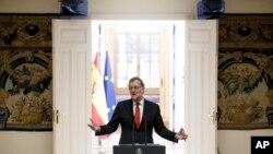 Le Premier ministre espagnol Mariano Rajoy durant sa traditionnelle conference de presse de fin d'année, le 30 décembre à Madrid