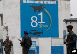 Indian soldiers stand guard outside an airbase in Pathankot, Jan. 4, 2016.