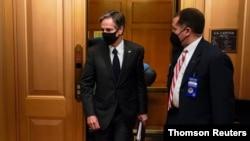 U.S. Secretary of State Antony Blinken departs after briefing Senators in Washington.