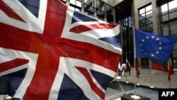 英国国旗和欧洲旗