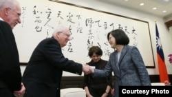 台湾总统蔡英文在台湾会见到访的美国智库外交政策全国委员会(台湾总统府图片)
