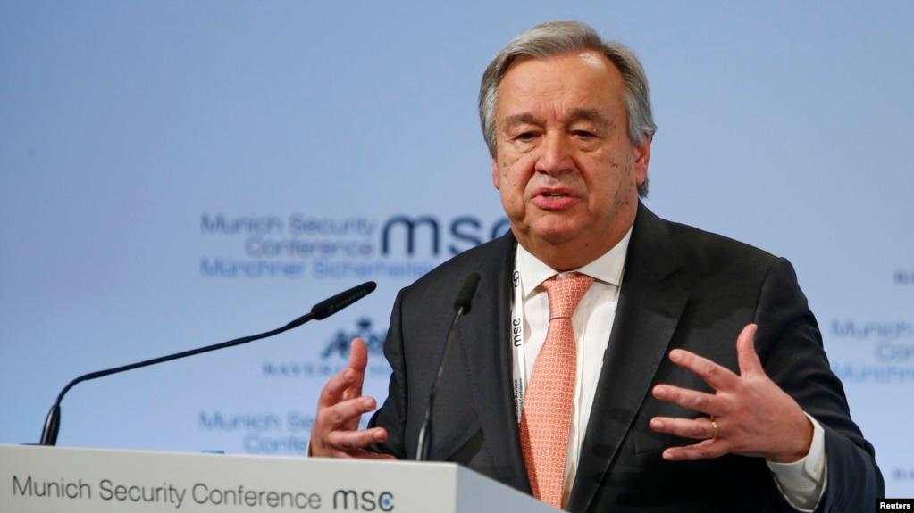 Tổng thư ký Liên hiệp quốc Antonio Guterres phát biểu tại Hội nghị An ninh Munich, Đức, ngày 16/2/18.
