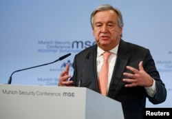 FILE - U.N. Secretary General Antonio Guterres speaks at the Munich Security Conference in Munich, Germany, Feb. 16, 2018.