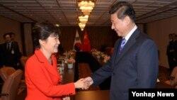 핵안보정상회의를 위해 네덜란드 헤이그를 방문한 박근혜 한국 대통령(왼쪽)과 시진핑 중국 국가주석이 23일 정상회담을 갖고 악수하고 있다.