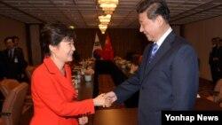 지난달 24일 핵안보정상회의를 위해 네덜란드 헤이그를 방문한 박근혜 한국 대통령(왼쪽)과 시진핑 중국 국가주석이 정상회담을 가졌다.