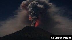 Mount Agung volcano erupts during the night, as seen from Datah village, Karangasem Regency in Bali, Indonesia on June 29, 2018.
