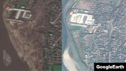 토사가 휩쓸고 지나간 무산군 일대(왼쪽)와 지난해 10월 수해 전 같은 지역의 사진. 구글어스 이미지.