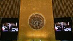El presidente de Chile, Sebastián Piñera, durante su intervención en la 76ª Asamblea General de la ONU, en Nueva York, el 21 de septiembre de 2021.